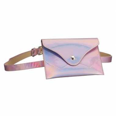 Metallic roze mini heuptasje/buideltasje aan riem voor dames