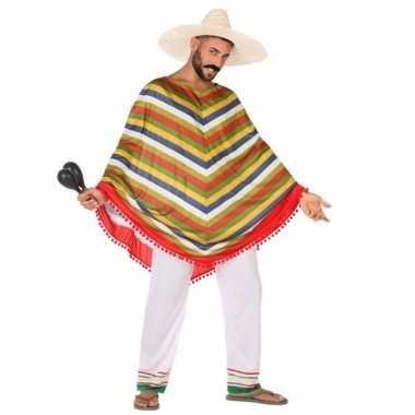 Mexicaans verkleed carnavalskleding/poncho voor heren