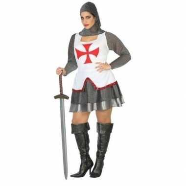 Middeleeuwse ridder verkleed carnavalskleding/jurk wit/rood voor dame