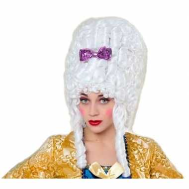 Middeleeuwse verkleed pruik barok wit voor dames