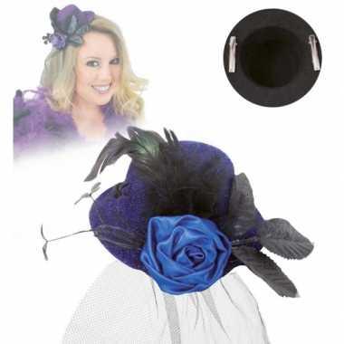 Mini hoed met roos en sluier blauw