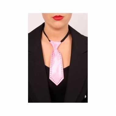 Mini stropdas roze met strass stenen