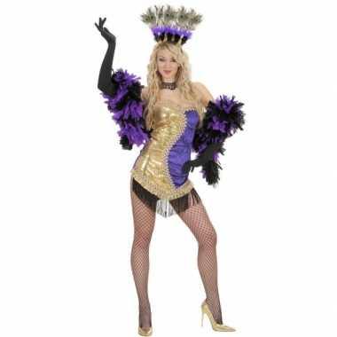 Moulin rouge carnavalskleding goud paars