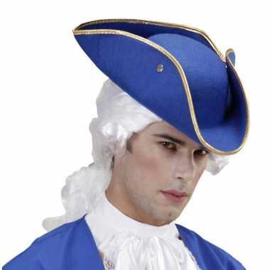 Musketier hoed blauw vilt