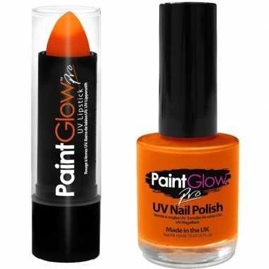 Neon oranje uv lippenstift/lipstick en nagellak schmink set