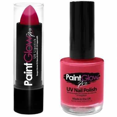 Neon roze uv lippenstift/lipstick en nagellak schmink set