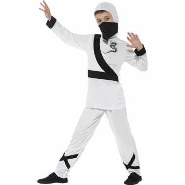 Ninja carnavalskleding wit/zwart voor kinderen