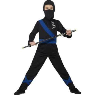 Ninja carnavalskleding zwart/blauw voor kinderen
