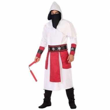Ninja vechter verkleed carnavalskleding wit/rood voor heren