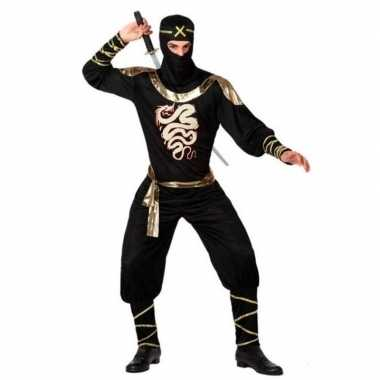 Ninja vechter verkleed carnavalskleding zwart/goud voor heren