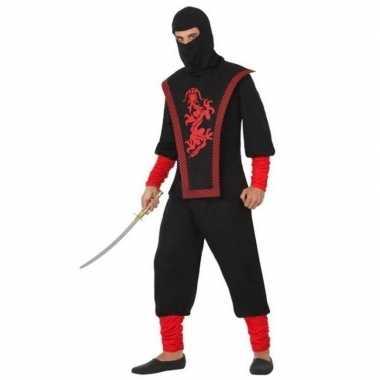 Ninja vechter verkleed carnavalskleding zwart/rood voor heren