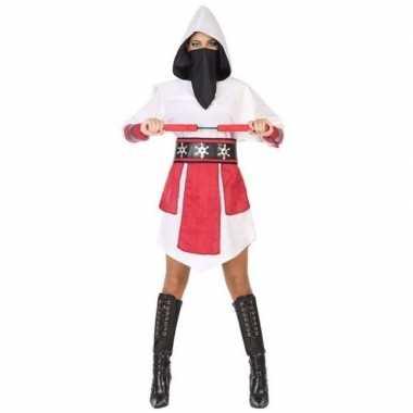 Ninja vechter verkleed jurk/carnavalskleding wit/rood voor dames