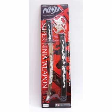 Ninja zwaard in zwarte schede 45 cm
