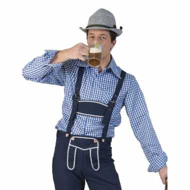 Oktoberfest blauw/wit geruit tiroler verkleed overhemd voor heren