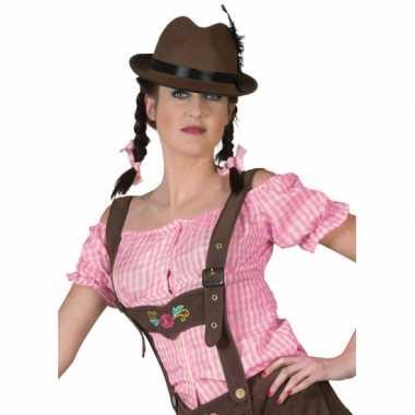Oktoberfest roze geruite tiroler blouse