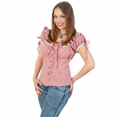 Oktoberfest tiroler blouse rood/wit voor dames