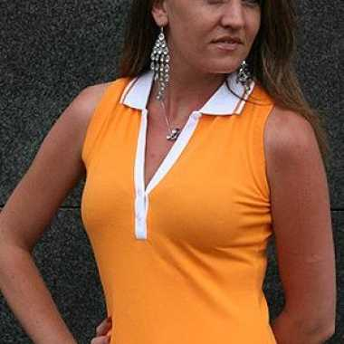 Oranje mouwloos dames polo shirt