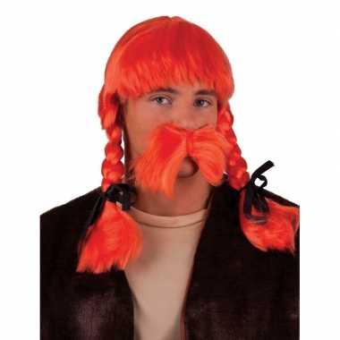 Oranje pruik en snor set