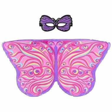 Paars/roze fantasievlinder verkleedset voor meisjes