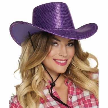 Paarse cowboyhoed howdy pailletten voor volwassenen