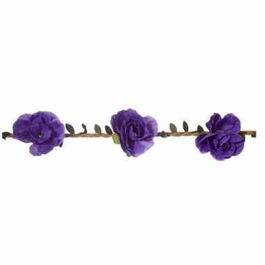 Paarse rozen festival/hippie haarband voor dames