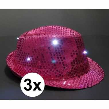 Pailletten trilby hoeden roze led light 3 stuks
