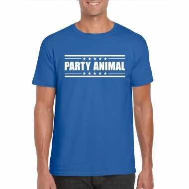 Party animal t shirt blauw heren