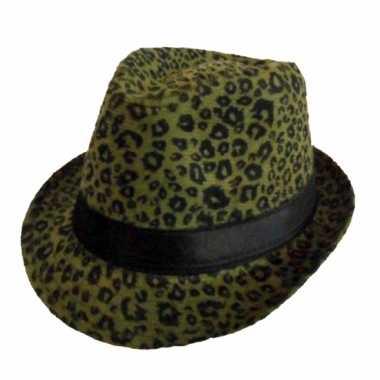 Party hoedjes met donkergroene panter print