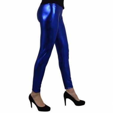 Party legging metallic blauw
