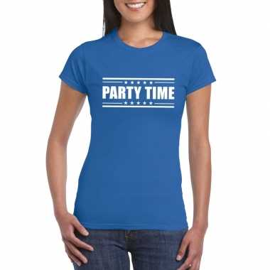 Party time t shirt blauw dames