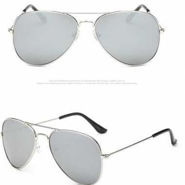 Pilotenbril zilver met lichte glazen voor volwassenen