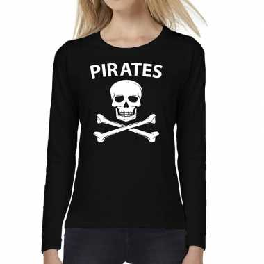 Pirates tekst t shirt long sleeve zwart voor dames