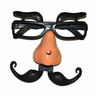 Plastic bril met wenkbrauwen