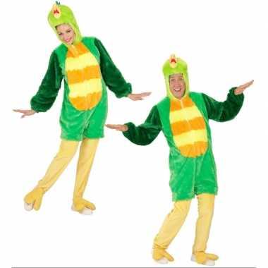 Pluche groene vogel carnavalskleding