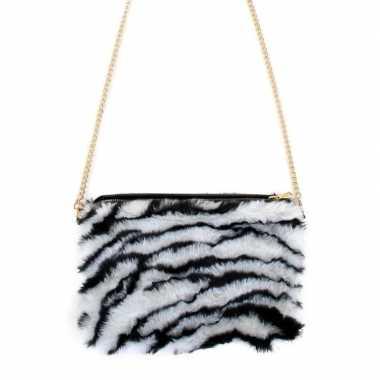 Pluche tasje zebra print voor dames