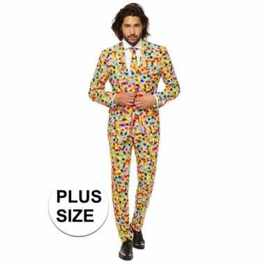 Plus size feest carnavalskleding confetti voor heren