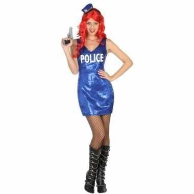Politie glitter verkleed jurkje voor dames