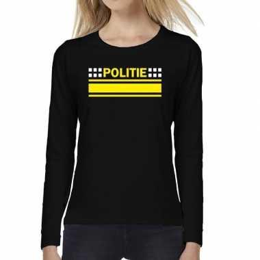 Politie logo verkleed t shirt long sleeve zwart voor dames
