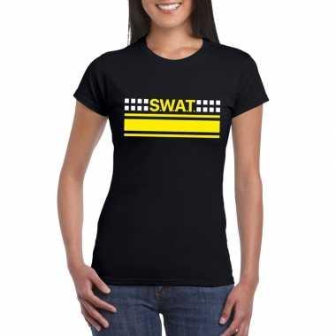 Politie swat team logo t shirt zwart voor dames