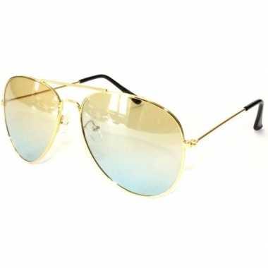 Politiebril goud met gele glazen voor volwassenen