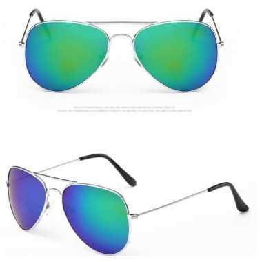 Politiebril zilver met blauw/groene glazen voor volwassene