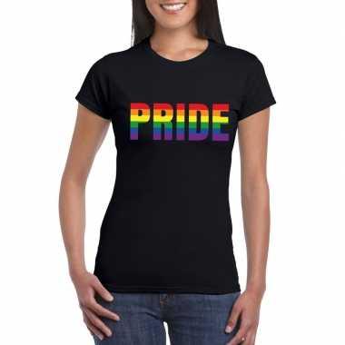 Pride regenboog tekst shirt zwart dames