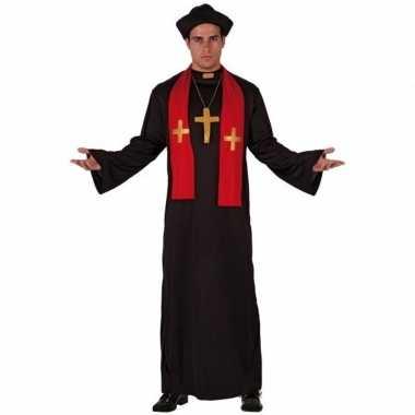 Priester carnavalskledings zwart met rood