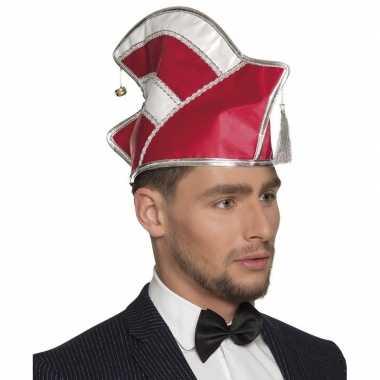 Prins carnaval muts rood/wit voor heren