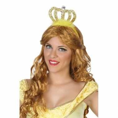 Prinses/koningin verkleed diadeem met gouden kroon