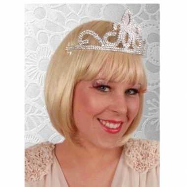 Prinses tiara zilver voor dames