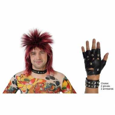 Punk verkleed set lederlook 5 delig