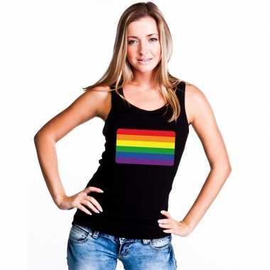 Regenboog vlag singlet shirt/ tanktop zwart dames
