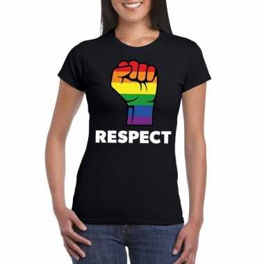 Respect lgbt shirt met regenboog vuist zwart dames