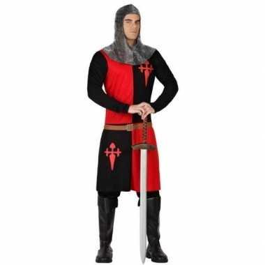 Ridder verkleed carnavalskleding zwart/rood voor heren